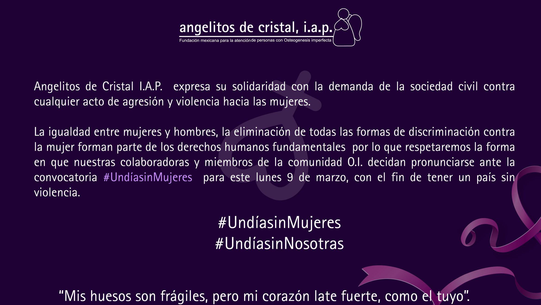 Angelitos de cristal se une a iniciativa #Undíasinmujeres